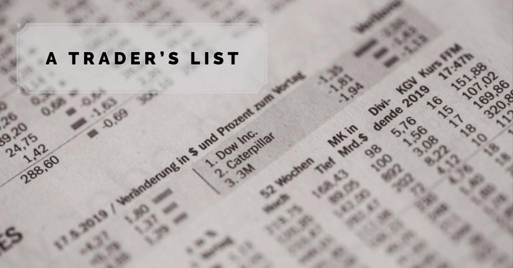 Lista de un operador de todos los estilos de trading